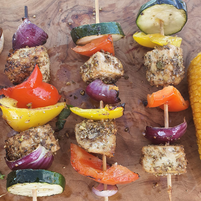 Tofu Skewers with red peppers, courgette, yellow peppers, red onion